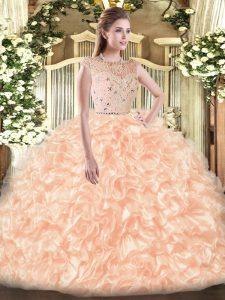 Bateau Sleeveless Zipper Quinceanera Gowns Peach Tulle