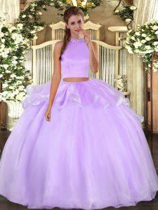 Wonderful Lavender Halter Top Backless Beading Vestidos de Quinceanera Sleeveless