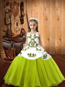 Customized Yellow Green Sleeveless Organza Lace Up High School Pageant Dress for Sweet 16 and Quinceanera