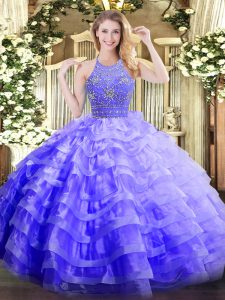 Fine Ball Gowns Quinceanera Gowns Lavender Halter Top Organza Sleeveless Floor Length Zipper