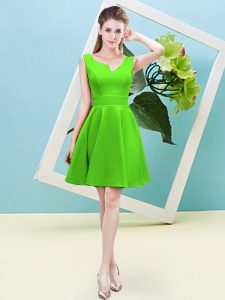 Discount Asymmetric Sleeveless Dama Dress Mini Length Ruching Satin