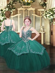 Attractive Dark Green Lace Up Spaghetti Straps Beading and Embroidery Pageant Gowns Satin and Organza Sleeveless