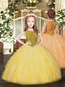 Attractive Beading and Ruffles Kids Formal Wear Gold Zipper Sleeveless Floor Length