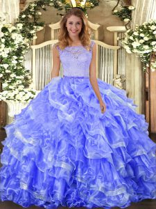 Colorful Scoop Sleeveless Organza Quinceanera Gown Lace and Ruffled Layers Clasp Handle