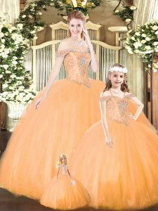 Elegant Orange Quinceanera Gowns Military Ball and Sweet 16 and Quinceanera with Beading Off The Shoulder Sleeveless Lace Up