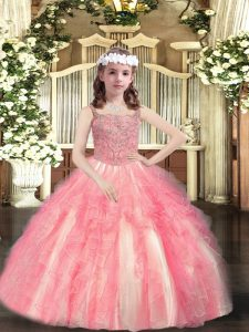Watermelon Red Sleeveless Beading and Ruffles Floor Length Little Girl Pageant Dress
