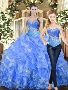 Customized Floor Length Ball Gowns Sleeveless Baby Blue Ball Gown Prom Dress Lace Up