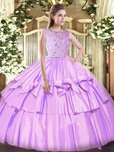 Sexy Bateau Sleeveless Quinceanera Dress Floor Length Beading and Ruffled Layers Lavender Tulle