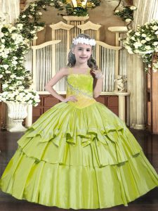 Floor Length Yellow Green Pageant Gowns Straps Sleeveless Lace Up