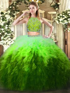 Pretty Multi-color Zipper Sweet 16 Dresses Beading and Ruffles Sleeveless Floor Length