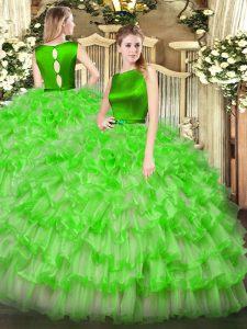 Floor Length Ball Gowns Sleeveless 15th Birthday Dress Clasp Handle