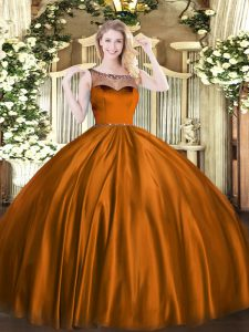 Exceptional Brown Quince Ball Gowns Sweet 16 and Quinceanera with Beading Scoop Sleeveless Zipper