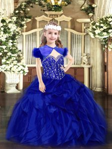 Elegant Floor Length Royal Blue Pageant Dress for Teens Straps Sleeveless Lace Up