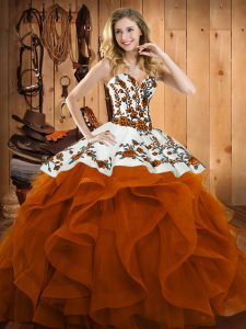 Sweetheart Sleeveless Lace Up Quince Ball Gowns Rust Red Satin and Organza
