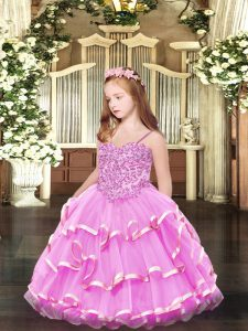 Rose Pink Spaghetti Straps Neckline Appliques and Ruffled Layers Little Girls Pageant Gowns Sleeveless Lace Up