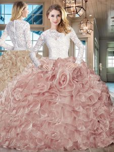 Custom Designed Champagne 15 Quinceanera Dress Scoop Long Sleeves Brush Train Lace Up