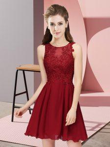 Dynamic Wine Red Sleeveless Mini Length Appliques Zipper Quinceanera Dama Dress