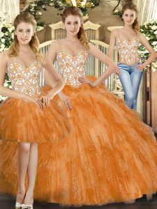 Glamorous Orange Red Organza Lace Up Straps Sleeveless Floor Length Sweet 16 Dresses Beading and Ruffles