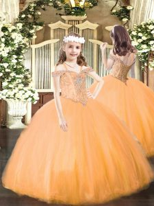 Low Price Orange Tulle Lace Up Off The Shoulder Sleeveless Floor Length Little Girls Pageant Gowns Beading