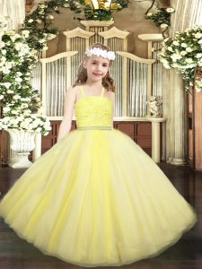 Yellow Sleeveless Floor Length Beading and Lace Zipper High School Pageant Dress