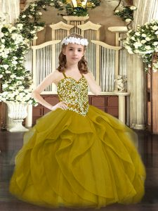 Brown Tulle Lace Up Pageant Dress Toddler Sleeveless Floor Length Beading and Ruffles