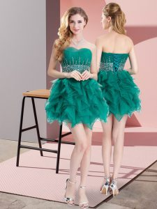 Simple A-line Court Dresses for Sweet 16 Green Sweetheart Organza Sleeveless Mini Length Lace Up