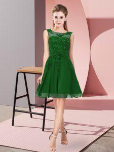 Colorful Scoop Sleeveless Chiffon Quinceanera Dama Dress Appliques Zipper