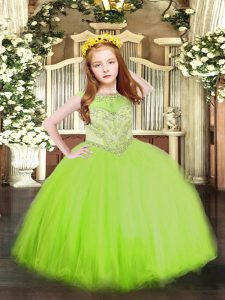 Zipper Scoop Beading Pageant Dress Toddler Tulle Sleeveless