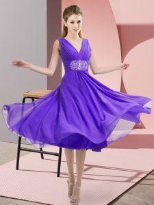 V-neck Sleeveless Side Zipper Quinceanera Dama Dress Lavender Chiffon