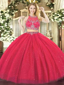 Excellent Coral Red Zipper Scoop Beading Sweet 16 Dress Tulle Sleeveless
