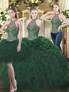 Sleeveless Beading and Ruffles Lace Up 15 Quinceanera Dress