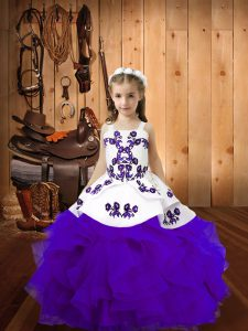Most Popular Eggplant Purple High School Pageant Dress Organza Sleeveless Embroidery and Ruffles