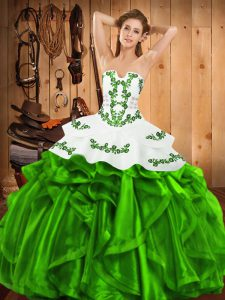 Lovely Satin and Organza Sleeveless Floor Length Quinceanera Gown and Embroidery and Ruffles