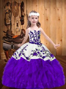 Purple Ball Gowns Straps Sleeveless Organza Floor Length Lace Up Embroidery and Ruffles Pageant Dress Toddler