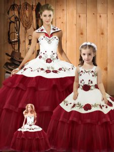 93657750c3 Fantastic Wine Red Ball Gowns Satin and Organza Halter Top Sleeveless  Embroidery and Ruffled Layers Lace