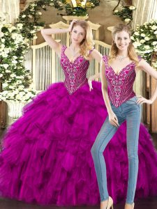 Chic Sleeveless Floor Length Beading and Ruffles Lace Up Sweet 16 Quinceanera Dress with Fuchsia