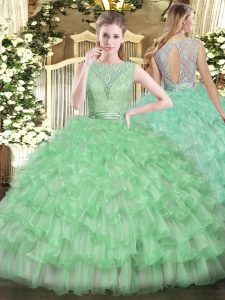Sexy Apple Green Ball Gowns Beading and Ruffled Layers Quince Ball Gowns Backless Tulle Sleeveless Floor Length