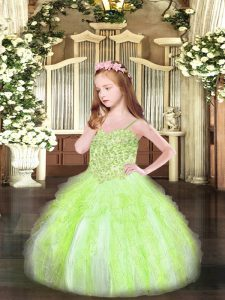 Yellow Green Spaghetti Straps Neckline Appliques and Ruffles Pageant Dress Sleeveless Lace Up