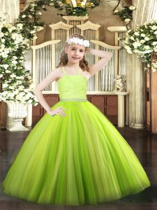 Yellow Green Ball Gowns Straps Sleeveless Tulle Floor Length Zipper Beading and Lace Pageant Dress Womens