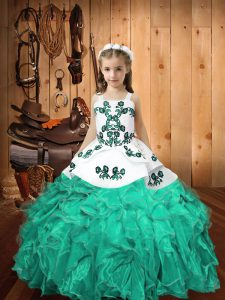 Turquoise Organza Lace Up Straps Sleeveless Floor Length Little Girls Pageant Gowns Embroidery and Ruffles
