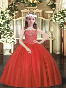 Straps Sleeveless Zipper Pageant Dress Toddler Red Tulle