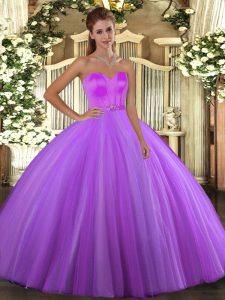 Eggplant Purple Ball Gowns Beading Quinceanera Dress Lace Up Tulle Sleeveless Floor Length