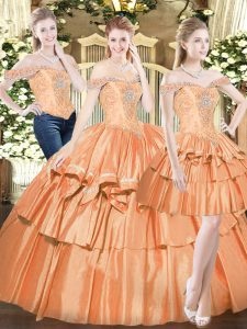 Off The Shoulder Sleeveless Lace Up 15 Quinceanera Dress Orange Red Organza