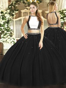 Floor Length Black Quinceanera Dress Halter Top Sleeveless Backless