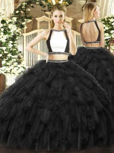 Edgy Ruffles Quince Ball Gowns Black Backless Sleeveless Floor Length
