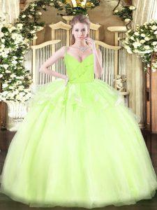 Sleeveless Organza Floor Length Zipper Quinceanera Dress in Yellow Green with Ruffles