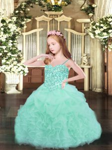 Sleeveless Organza Floor Length Lace Up Custom Made Pageant Dress in Apple Green with Beading and Ruffles and Pick Ups