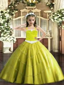 Yellow Green Sleeveless Appliques Floor Length Little Girls Pageant Dress