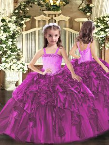 Fuchsia Ball Gowns Organza Straps Sleeveless Appliques and Ruffles Floor Length Lace Up Kids Formal Wear
