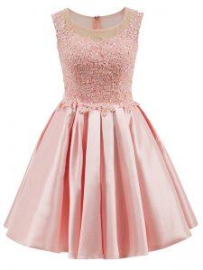 Scoop Sleeveless Zipper Quinceanera Court of Honor Dress Baby Pink Satin